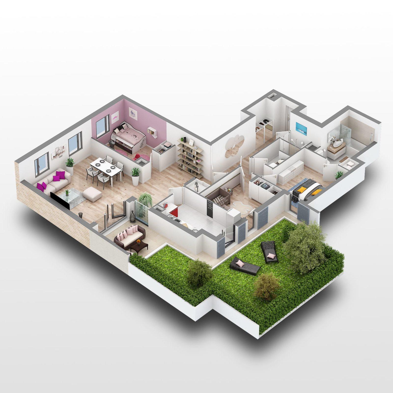 MAISONS-LAFFITTE -Jardins en-Ville - Plan 3D Lot A101 - Interconstruction