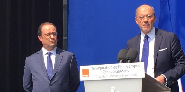 Le President de la Republique Francois Hollande et Stephane Richard PDG d Orange (Credits photo  D.R)