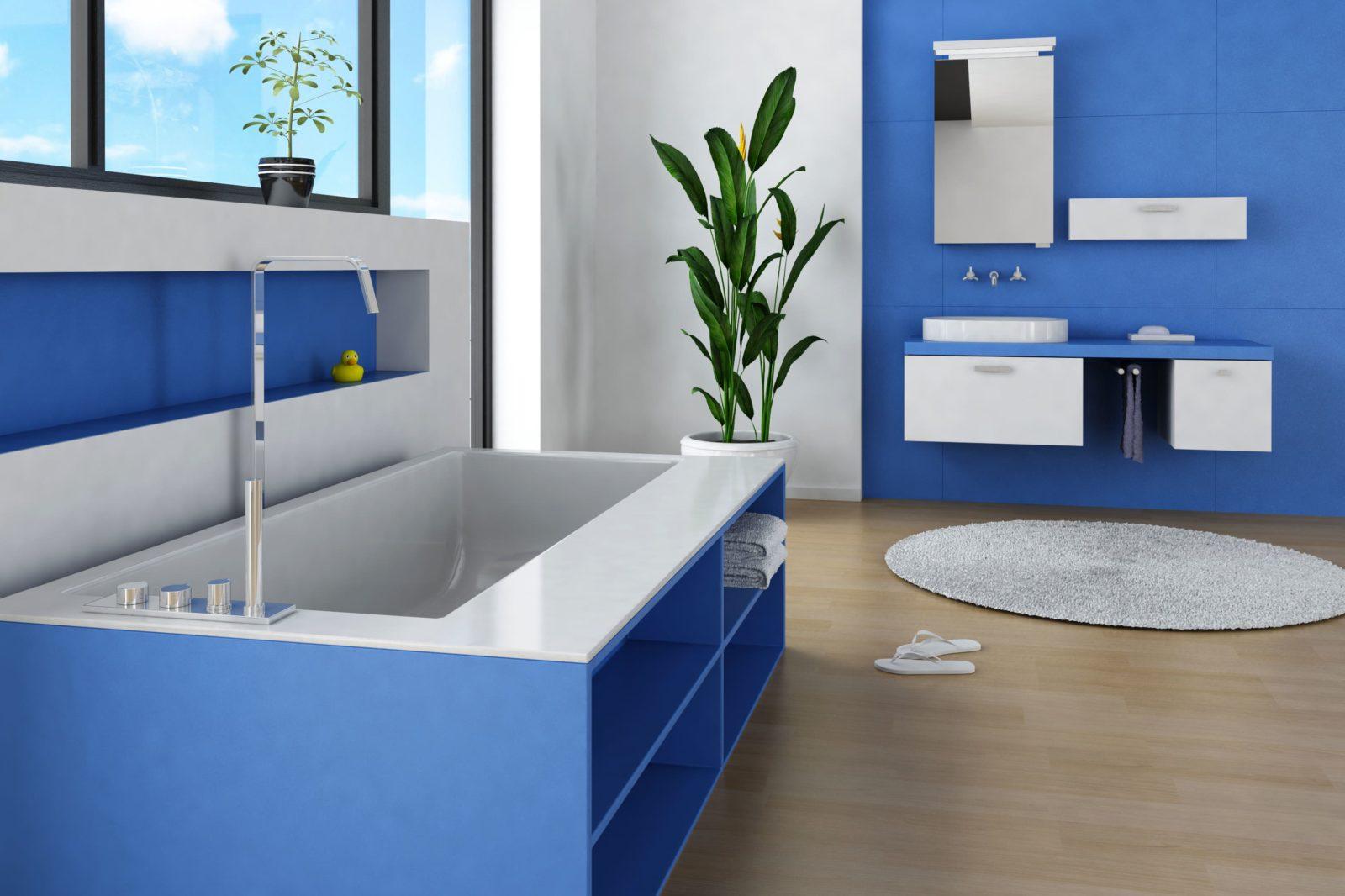 Salle de bains bleue et blanche